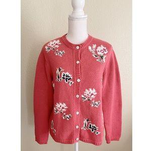Eddie Bauer Botton Down Floral Cardigan Sweater In Salmon Pink Small